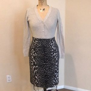 Elie Tahari Snow Leopard Print Pencil Skirt 8